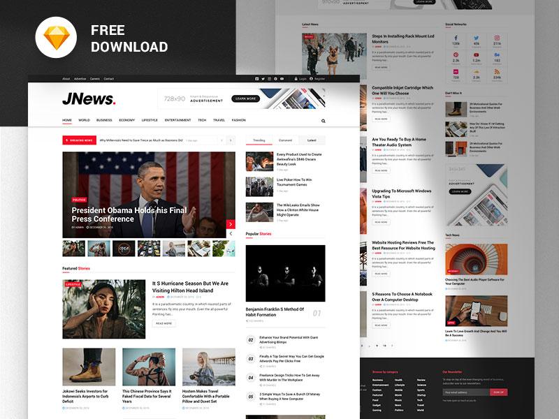 JNews - Free News & Magazine Sketch Template xd web design design webdesign ui template sketch sketchapp free freebie