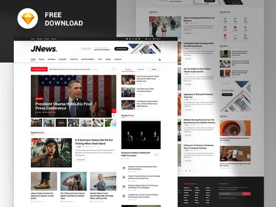 JNews - Free News & Magazine Sketch Template xd web design design webdesign ui template sketch sketchapp free freebie