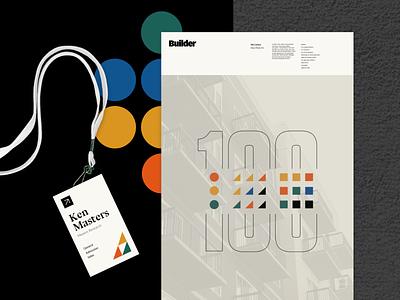 Builder 100 Branding logo poster illustration type branding