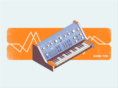 Synth Print 770 vector electronic music landscape poster synth krog isometric