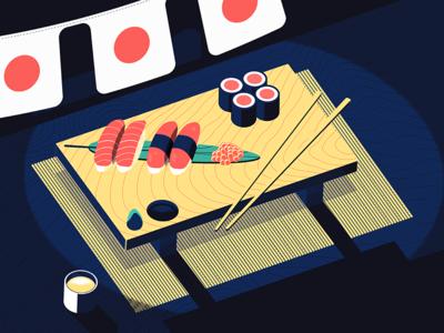 Iso Dreams of Sushi halftones wood chopsticks food rice illustration geta saki ikura nigiri isometric sushi
