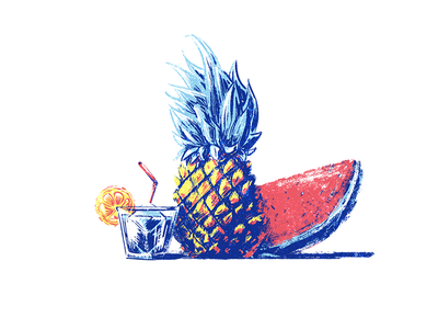 Summer Vibes tropical paint fruit cocktail drink watermelon pineapple summer