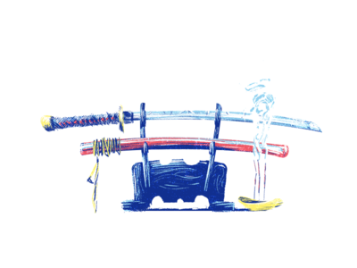 Samurai Blues blue smoke sheath samurai blade paint photoshop katana swords
