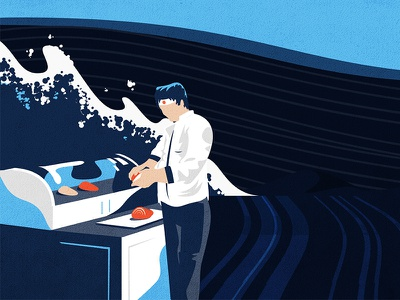 Sushi Chef nigiri tuna character chef sushi fish illustration assets