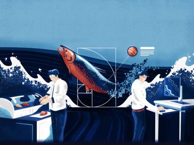 Sushi-to-Design Blog Illustration golden-ratio meat design fish salmon illustration blog sushi