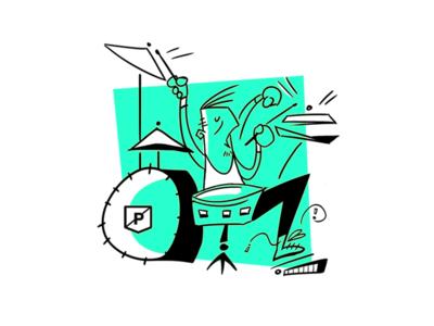 Drummer Illustration mid-century-cartoon drummer drums illustration guesture shapes