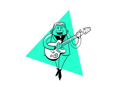 Guitar Player Illustration guitar ink mid-century-cartoon drawing illustration