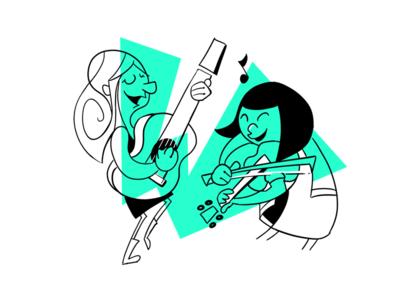 Violin/Guitar Players Illustration cartoon mid-century-cartoon guitar violin illustration drawing