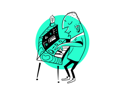 Synth Player Illustration piano synth mid-century-cartoon ink illustration
