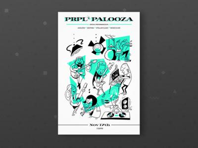 PRPL Palooza - Alt Poster mid-century-cartoon band illustration show poster music purple-rock-scissors- palooza prpl