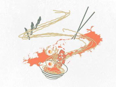 Ramen Explosion Illustration illustration ramen noodles explosion eggs broth japanese