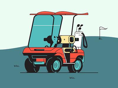 Golf Cart - Rebound car illustration flat club cart golf golfcart