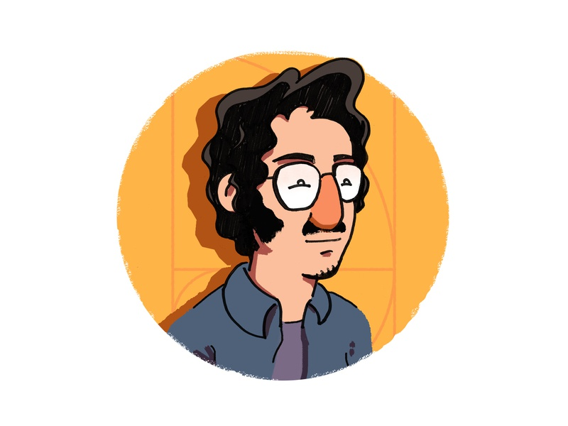 Devin character ink portrait glasses illustration