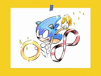01  Inktober - Ring illustration watercolor sega hedgehog ink inktober ring sonic