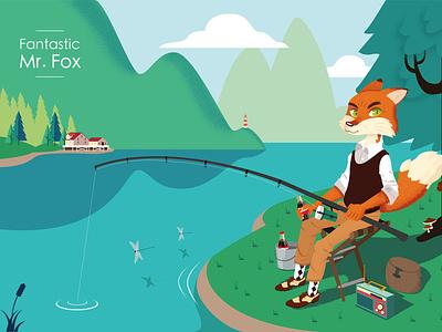 Fantastic Mr Fox landscape forest animal fox vector illustration
