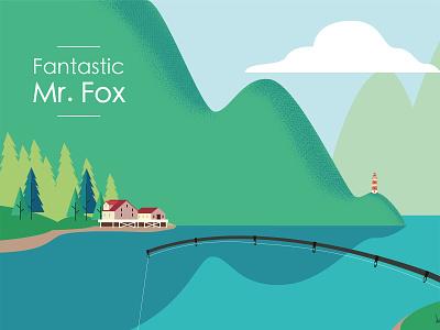 Fantastic Mr Fox detail nº1 forest landscape vector illustration
