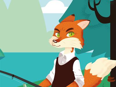 Fantastic Mr Fox detail nº2 landscape forest animal fox vector illustration