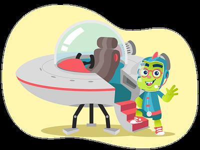 Orbit (Intro) mascot character website illustration