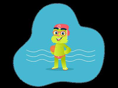 Orbit (Waterpolo) mascot character website illustration