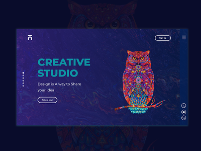 Creative Studio - Landing Page creative  design modern coloring owl color creativity agency web ui-ux- design interface creative design studio creative