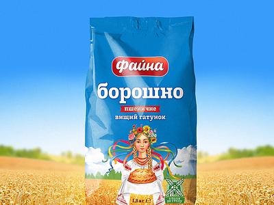 """Faina"" flour loaf bread sky wheat ukraine girl field blue adobe illustration art design pack wrapping package flour logo branding graphic design packaging"