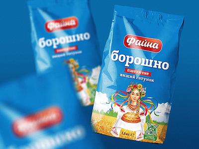 """Faina"" flour loaf sky wheat ukraine girl wrapping illustration field design bread blue art adobe branding logo graphic design pack package packaging"
