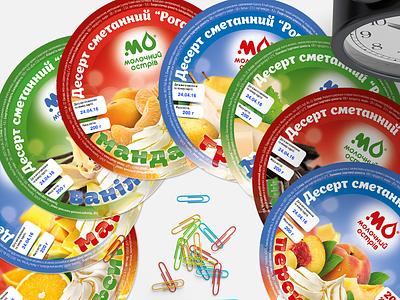 """Molochniy Ostriv"" desserts color sweet berries fruits sour cream dessert art adobe illustration design graphic design logtype branding logo pack packing package packaging"
