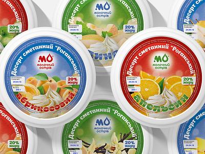 """Molochniy Ostriv"" desserts color sweet berries fruits sour cream dessert art design graphic design logo design logotype logo pack packing package packaging"
