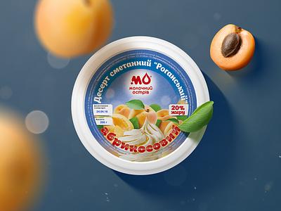 """Molochniy Ostriv"" desserts apricot color sweet berries fruits sour cream dessert art adobe illustration design graphic design logotype logo pack packing package packaging"