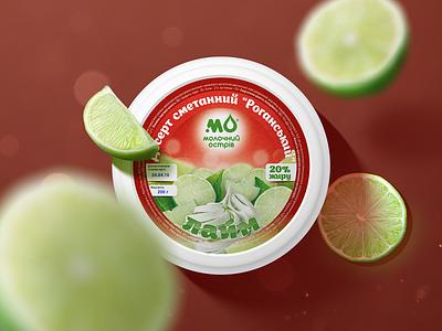 """Molochniy Ostriv"" desserts lime color sweet berries fruits sour cream dessert art adobe illustration design graphic design logotype logo pack packing package packaging"