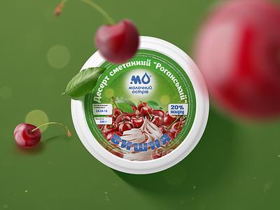 """Molochniy Ostriv"" desserts cherry color sweet berries fruits sour cream dessert illustration adobe art design graphic design logotype logo pack package packing packaging"