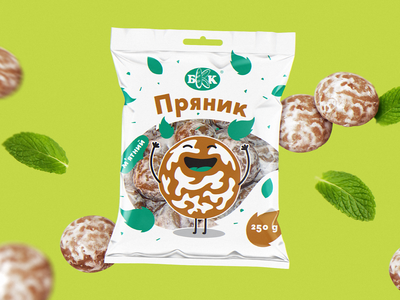 Packaging for cookies the best top fascinating amazing fun branding green white mint character illustration art packaging package pack graphic design design