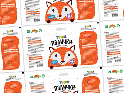 Packaging for corn sticks sweets fox face food color white character logo illustration branding art packaging package pack graphic design design sticks corn
