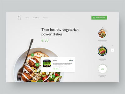 Food Box clean photograpy plate ux ui ux slide vegetarian green gray healthy webdesign website dishes food app food health landingpage ui design interface