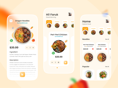 Food Delivery - Mobile App food delivery app foodie food and drink mobile app mobile app design restaurant app shopping bag shopping cart shopping app food app ui design order food