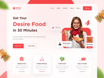 Restaurant landing page food and drink foodie food illustration landing page landingpage website design uidesign web ui web site restaurant food
