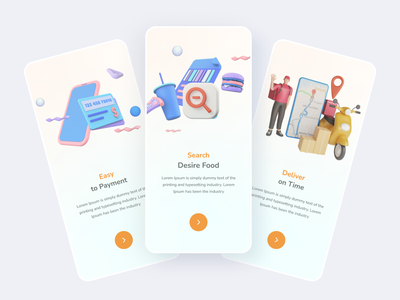 Onboarding screen 3d mobile app design ui interaction food ecommerce delivery food animation ui animation onboading ui