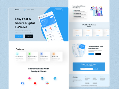 Digital wallet app landing page mobile app design minimal clean website design web ui ui design app digital wallet app landing page ui