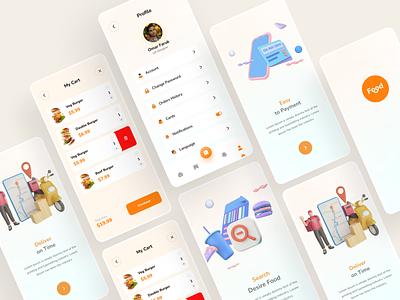 Food delivery app new app design trendy 2022 3d ui illustration delivery app mobile app ecommerce buy food food