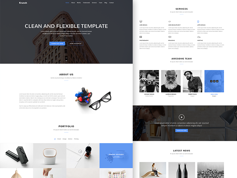 Krunch Agency Landing Page Template invite freepsd freebie agency landing page krunch landing page landing page first