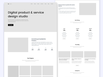 Wireframe for new agency template wireframe minimal agency landing-page