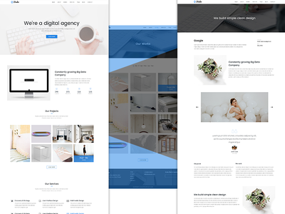 One Page Creative Digital Agency Template minimal website landing page ux ui theme simple modern design clean agency