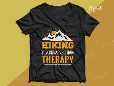 Hiking it's cheaper than therapy. Hiking typography with vector typography mountain t shirt design ideas best t-shirt design hiking design trendy t shirt custom t shirt t shirt design mountain t shirt camping hiking t shirt hiking