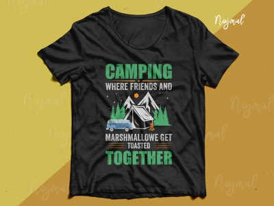 Camping where friends. Camping t-shirt design hiking t shirt design idea typography trendy t shirt t shirt design custom t shirt campaign design campfire camping camping t shirt design