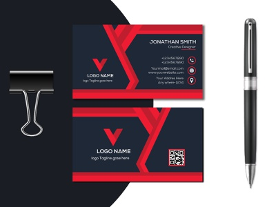 Corporate Business Card Design vector Templet visiting card design red color business card modern business card business card vector creative design branding logo luxury business card design brand brand identity graphic design