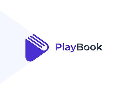 PlayBook Logo Identity concept button mark identity listening play book branding icon logo