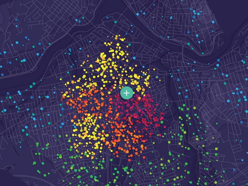 Data Map points circles dots color population map dataviz data