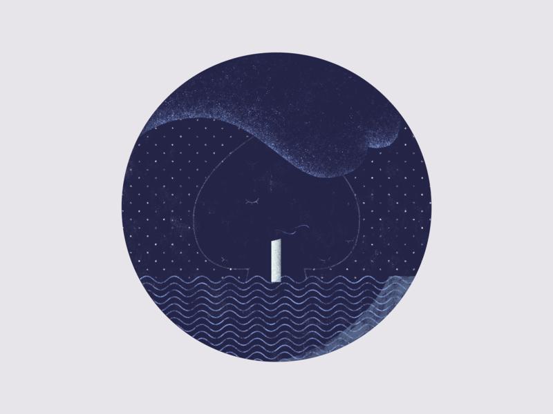 Kingdom By The Sea 3 blue vector drawing line art illustration flat design