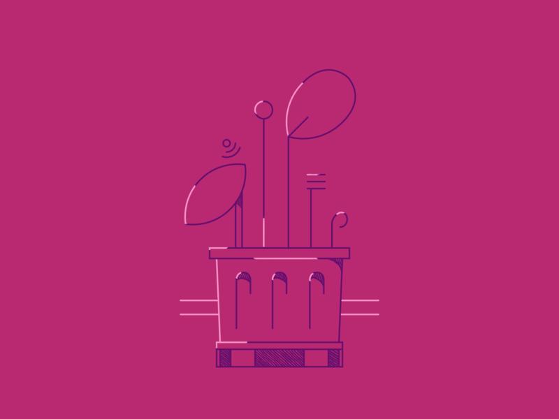 Potted Before pink vector drawing line art illustration flat design