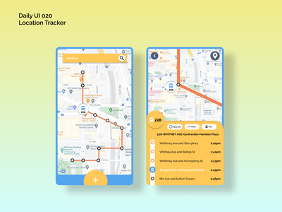 [Daily UI] 020. Location Tracker map tracking blue yellow locationtracker bustracker simple ui design appdesign modern uiux